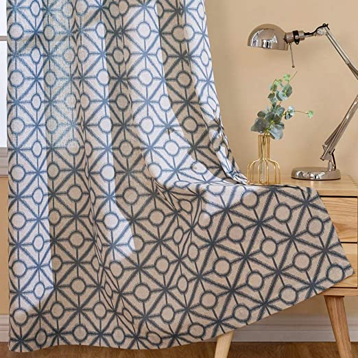 Linen Textured Curtains for Living Room Grommets Top Geometric Design Window 2 P