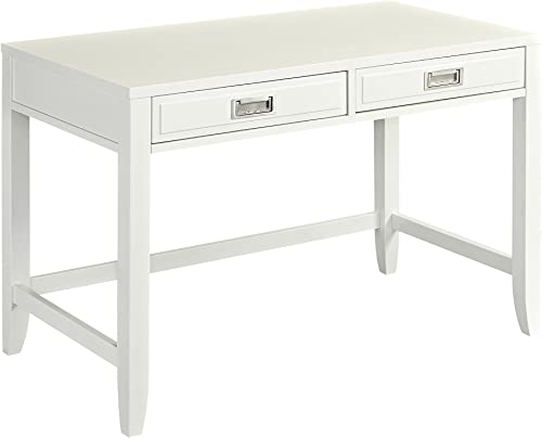 Home Styles Newport Satin White Student Desk Crafted from Hardwoods Brushed Silver Hardware, Slightly Flared Legs, Two Storage Drawers