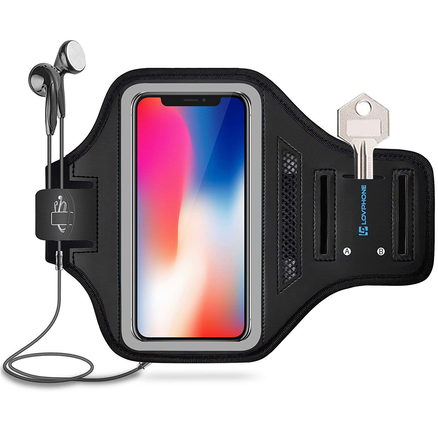 LOVPHONE Running Armband for iPhone X, Waterproof Sport Outdoor Gym Running Key Holder Card Slot Phone Case Bag Armband (Gray)