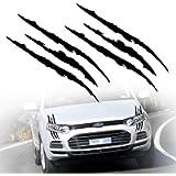 TOMALL 2 Pcs Claw Marks Headlight Reflective Sticker Waterproof Scratch Car Sticker Monster Scratch Stripe Decal Car…