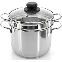 Marmite universelle en acier diamètre 20/22cm, casseroles à induction, casserole avec couvercle et panier gamme, scolapastata pour pâte, avec 2poignées, fabriqué en Italie 20 CM argent