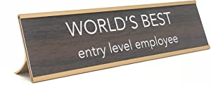 aahs!! Engraving World's Best Entry Level Employee Novelty Nameplate Style Desk Sign (Brown)