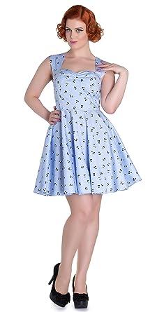 Collectif DOLORES Doll 50s Punkte POLKA DOTS Swing Dress Kleid Blau Rockabilly