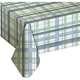 Lexington Plaid Blue Vinyl Tablecloth, 60x102 Oblong (Rectangle)