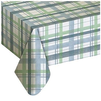 Lexington Plaid Blue Vinyl Tablecloth, 52x70 Oval