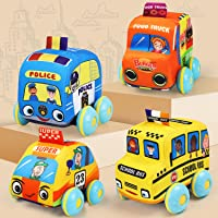 TOY Life Soft Pull Back Cars for Toddlers - Pull Back Vehicles Soft Baby Toys - Kids car Toys 4 Pack with Soft Plush Toy…