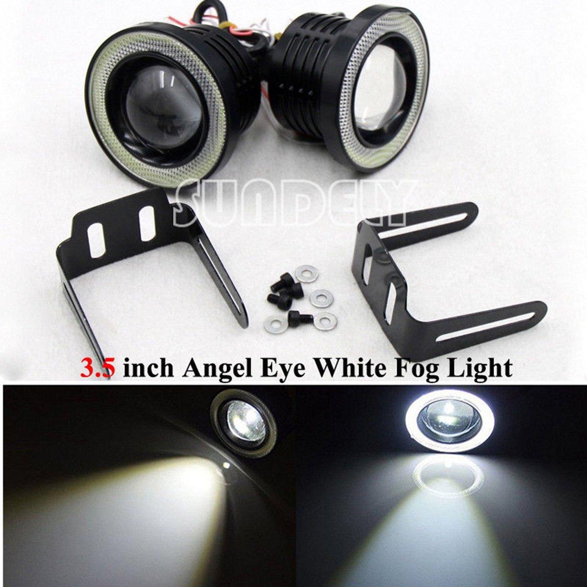 SUNDELY/® 2 Pcs COB 3.5 Universal Projector LED Fog Lights Lamps Halo Angel Eyes Rings