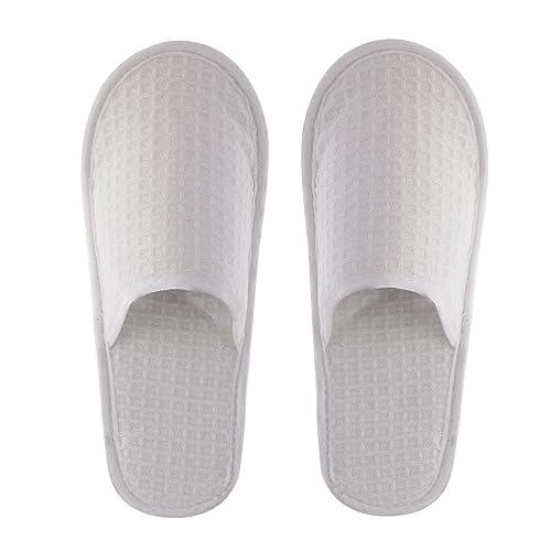 dec21171e217 futro z królika 10 Pairs of White Waffle FABFRIC Closed Toe Hotel  Disposable Slippers UK India Size 39  Amazon.in  Shoes   Handbags