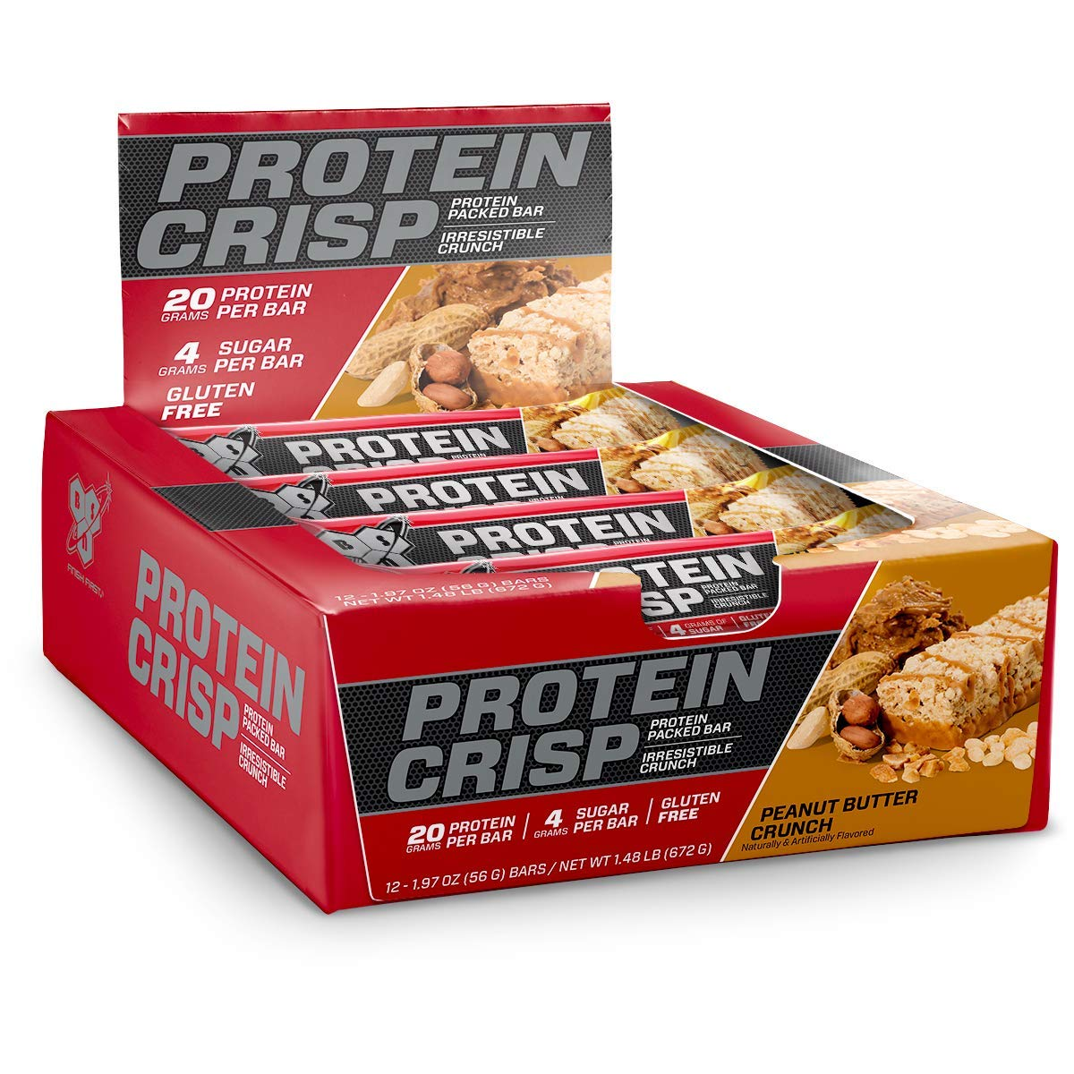 BSN Protein Crisp Bar by Syntha-6, Low Sugar Whey Protein Bar, 20g of Protein, Peanut Butter Crunch, 12 Count (Packaging may vary) by BSN
