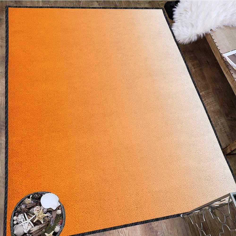 Ombre Modern Area Rug with Non-Skid,Sunset Summer Inspired Orange Colored Modern Abstract Design Work of Art Print Decor Carpet Popular Colors Orange White 71''x83'' by Philip C. Williams