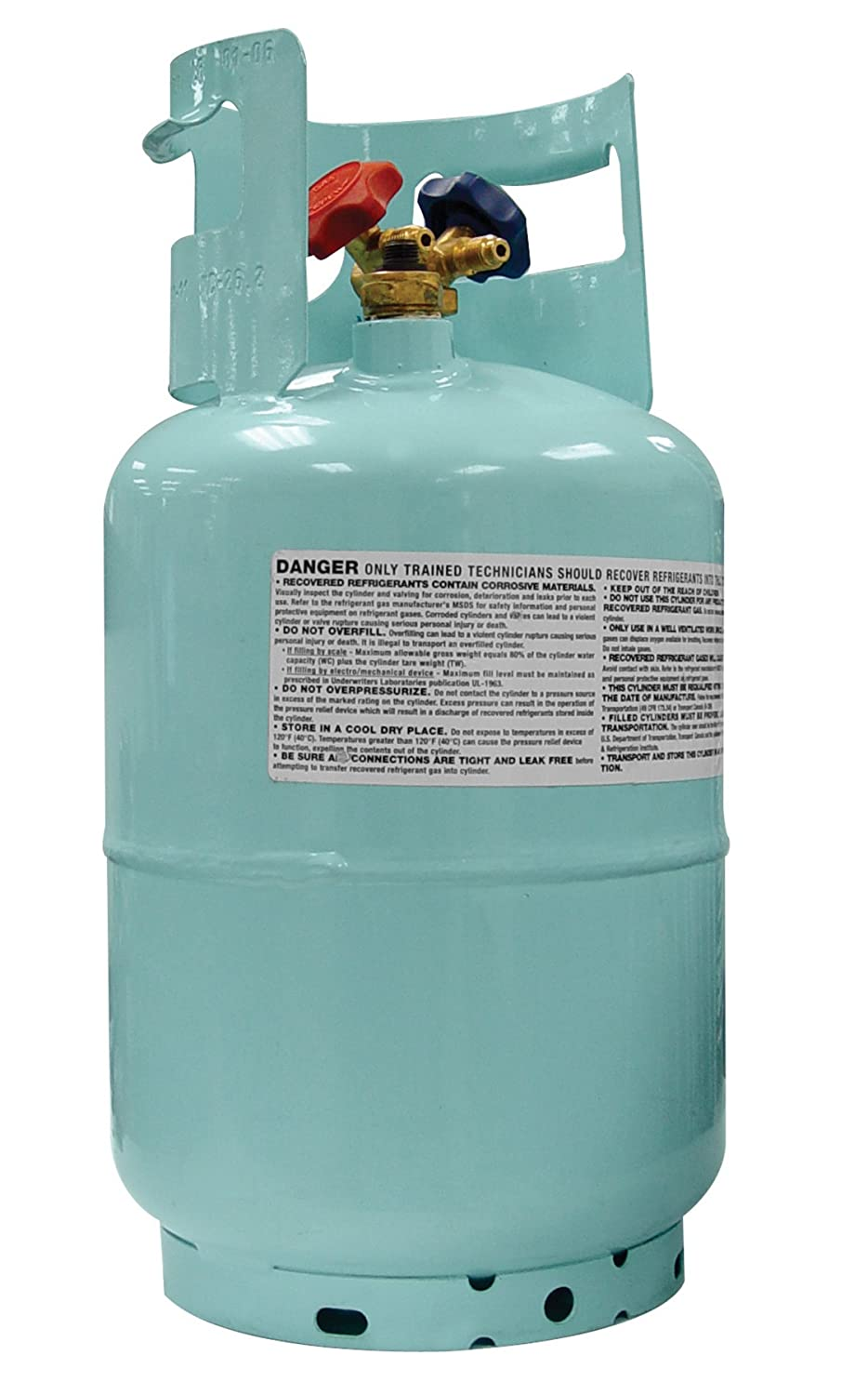 Mastercool (67010) Blue DOT R134A Recovery Refrigerant Cylinder with Float Switch and 1/2' Acme Connection - 30 lb. Capacity
