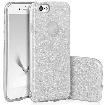 QULT Carcasa para Móvil Compatible con iPhone 7 Funda Silicona Brillante Dura Bumper Teléfono Brillar Purpurina Silver Caso para iPhone 7 Plata