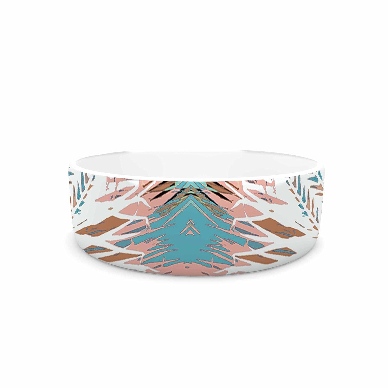 KESS InHouse Alison Coxon Tribe Coral & Teal  bluee White Pet Bowl, 7