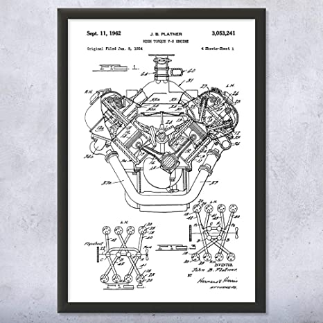 Amazon.com: Patent Earth Framed Hemi V8 Engine Print, 1st Gen Hemi, Muscle  Car Art, Engine Blueprint, Garage Workshop Art, Body Shop Art: Posters &  PrintsAmazon.com