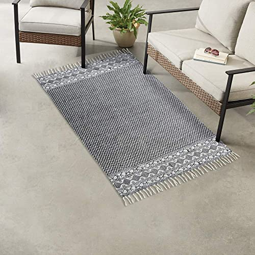 NIKKY HOME Area Rug Handmade Indoor Living Room Bohemian Boho-Chic Woven Heavy Cotton Braided Lounge Floor Mat