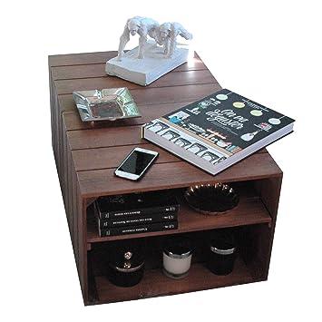 LIZA Line Mesa DE Centro, 2 Compartimentos, Estilo Cajas Vintage, con Ruedas Giratorias