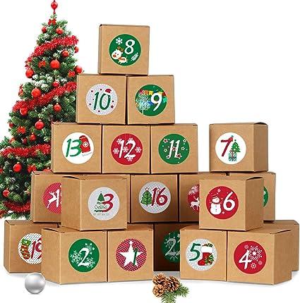 Calendario dellAvvento Fai da Te Scatole Carta Blu Tedesco Calendario Dellavvento 24 Avvento Calendario Avvento da Riempire 1-24 Adesivi Numerici 72 Natale Adesiv