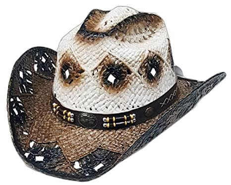 29f1e0cba4b49f Modestone Unisex Straw Cowboy Hat Brown Off White: Amazon.co.uk: Clothing