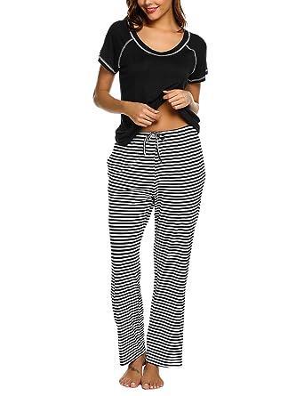 e63fa51bb9 Ekouaer Pajamas for Women Short Sleeve Pj Striped Nightwear Set Soft  Sleepwear