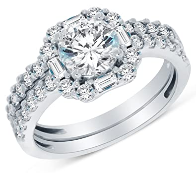 Size 4   Solid 14k White Gold Highest Quality CZ Cubic Zirconia Halo Bridal  Engagement Ring