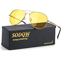 SODQW Aviator Night Vision Driving Anti-Glare Glasses, HD Sight Polarized Yellow Night Guide Rainy Safe Glasses