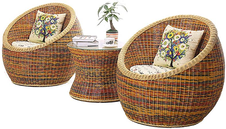 Tq Small Coffee Table Cane Chair Set Balcony Table And