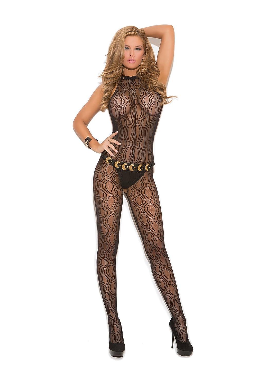 87dc5452081 Amazon.com: Elegant Moments EM-1602, Swirl Lace Halter Bodystocking w/open  crotch O/S Black: Clothing