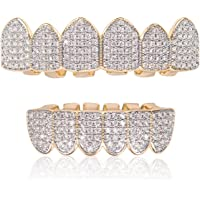 DUNCHATY Diamond Gold Grillz for Men Women Gold Grills for Your Teeth 18k Gold Plated Grillz Hip Hop Gold Teeth Grillz…