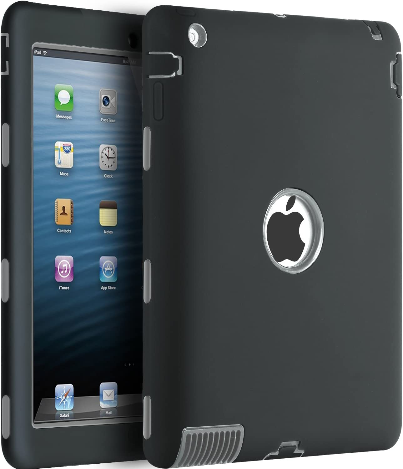 iPad 2 Case,iPad 3 Case,iPad 4 Case,BENTOBEN Heavy Duty Rugged Shock-Absorption/High Impact Resistant Hybrid Three Layer Full Body Protective Case Cover for iPad 2/3/4 Retina (Black/Gray)