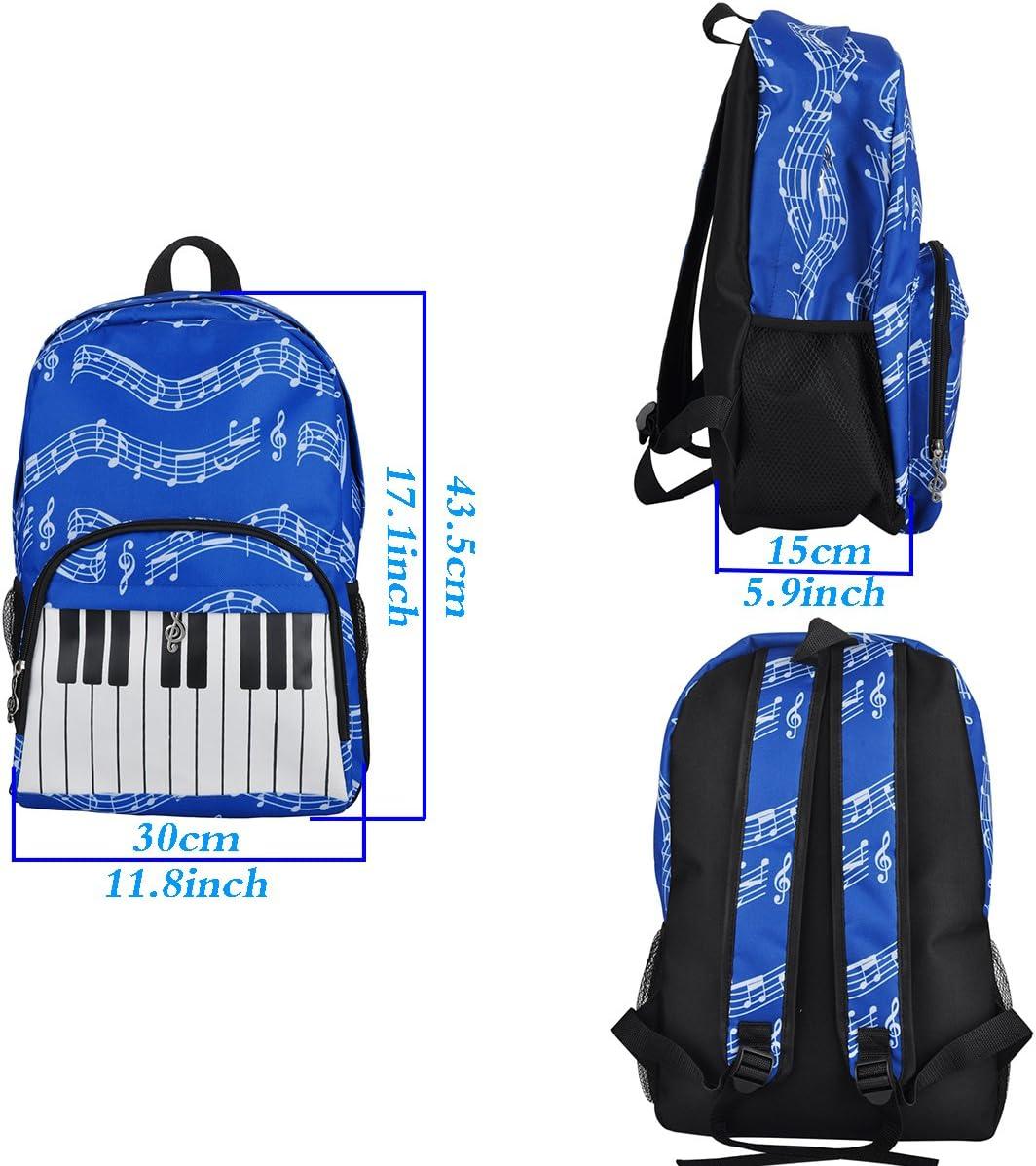 Musical notes patterns black 4/couleurs tissu Oxford PUNK Sac /à dos d/'/écolier /à motifs de notes de musique
