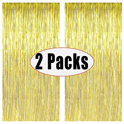FECEDY 2pcs 3ft x 8.3ft Gold Metallic Tinsel Foil Fringe Curtains Photo Booth Props for Birthday Wedding Engagement Bridal Shower Baby Shower Bachelorette Holiday Celebration Party Decorations: Toys & Games