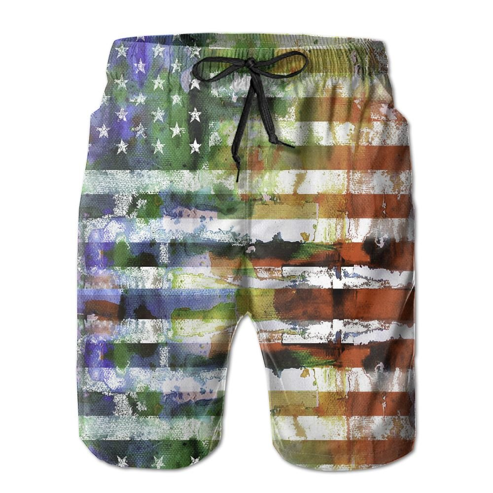 Rainbow American Flag Mens Swim Trunks Quick Dry Bathing Suits Summer Casual Surfing Board Shorts