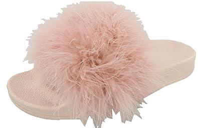 9e66838b434 Top Moda Women s Marabou Flip Flop Slip On Slide Slipper Sandal (6 B(M