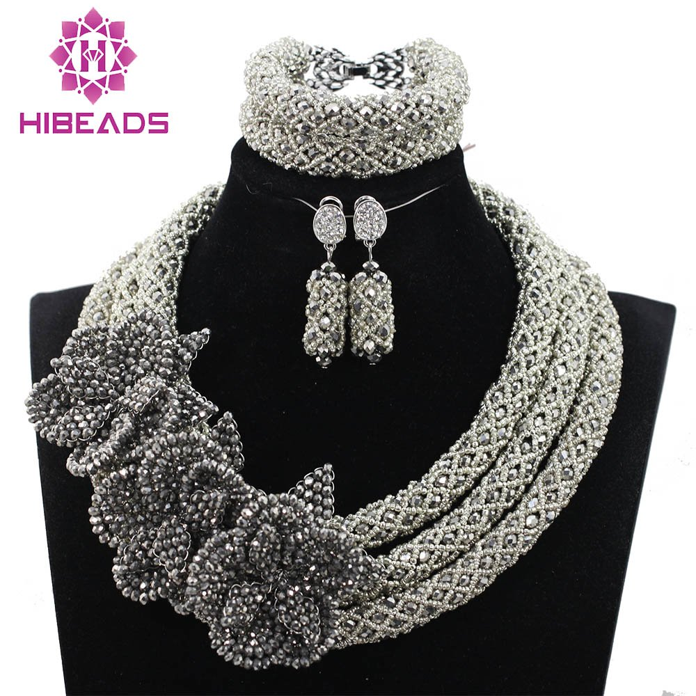 African Beads Silver Crystal Beads Jewelry Set With Handmade Flower Brooch Heavy Design