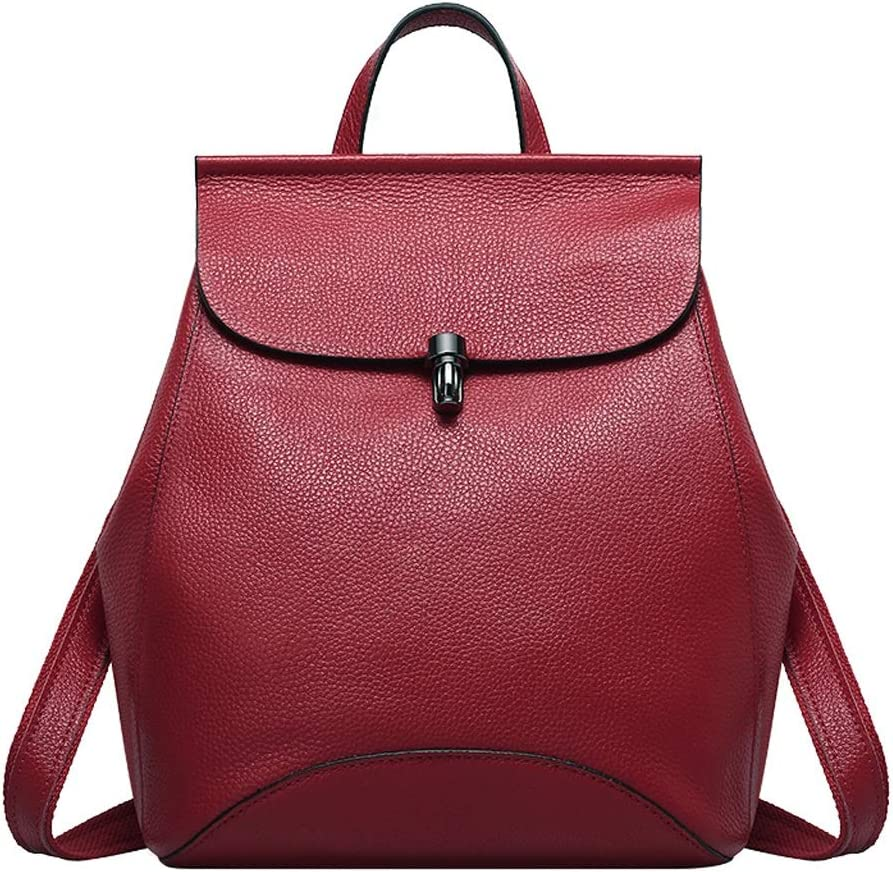 HZH Womens Single Shoulder and Shoulder Bag Double Layer Leather Creative Fashion Wild Backpack Wine Red