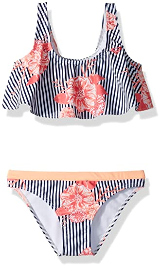862aed5568 Roxy Girls' Young and Free Flutter Swimsuit Set Two Piece, Medieval Blue  Swim Sunny