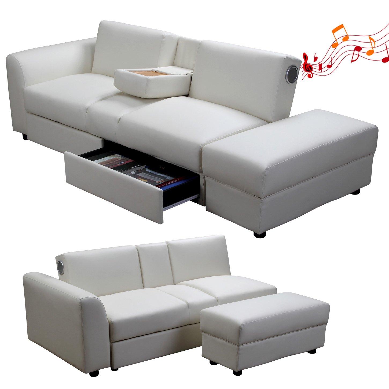 Di-Nesh Kin Funktionssofa mit Bluetooth Weiss Schlafsofa Sofa ...
