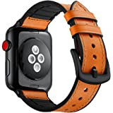 Elehome Compatible with Apple Watch Band 38mm 40mm, Sweatproof Genuine Leather and Rubber Hybrid Band Strap Compatible with iWatch Series 4 Series 3 Series 2 Series 1 (38mm 40mm) Sport and Edition (38mm / 40mm, Light Brown)