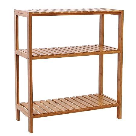 Songmics 3 Tier Bamboo Bathroom Shelf Unit Storage Stand Shelves Shoe Rack  59 X 26 X