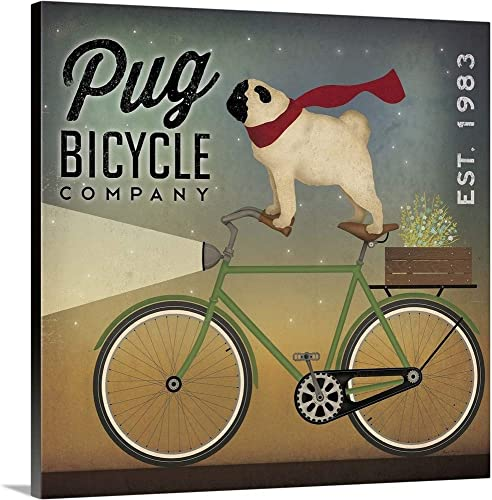 Pug on a Bike Canvas Wall Art Print