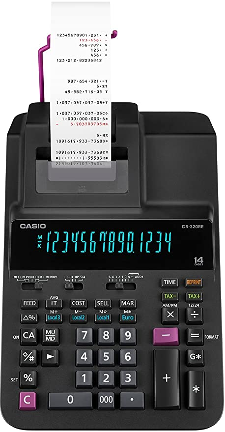 Casio DR-320RE - Calculadora impresora 14 dígitos, 11.1 x 20.5 x 37.7 cm, color negro