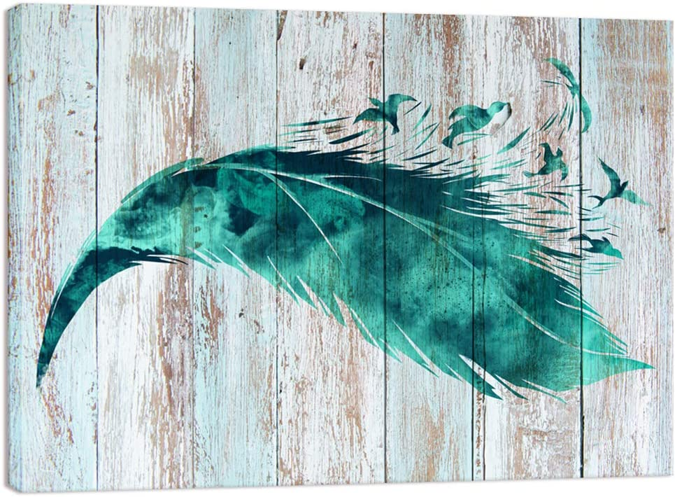 Visual Art Decor Abstract Birds Feather Canvas Wall Art Prints Teal Green Wood Texture Background Gallery Wrapped Ready to Hang for Home Office Bedroom Wall Decoration (24x32)