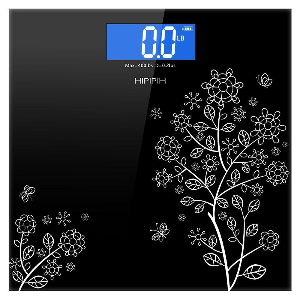Hippih 400lb / 180kg Electronic Bathroom Scale with Tempered Glass Balance Platform and Advanced Step-On Technology, Digital Weight Scale has Large Easy Read Backlit LCD Display A-002 4332442919