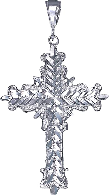 Fine Necklaces & Pendants Fine Jewelry Large Sterling Silver Cross with Jesus Pendant Necklace with Diamond Cut Finish