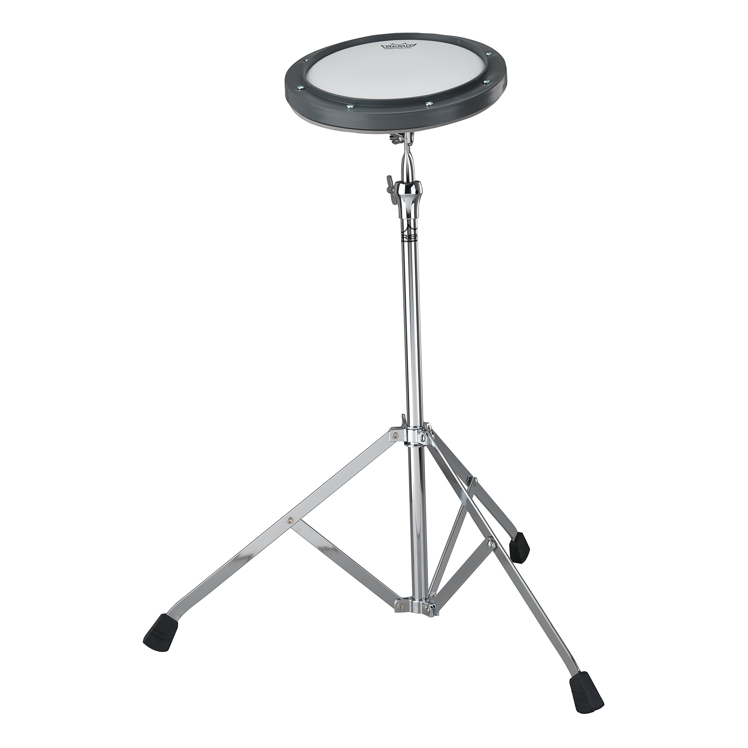 Remo RT-0010-ST 10'' Gray Tunable Practice Pad with Ambassador Coated Drumhead and ST-1000-10 Stand