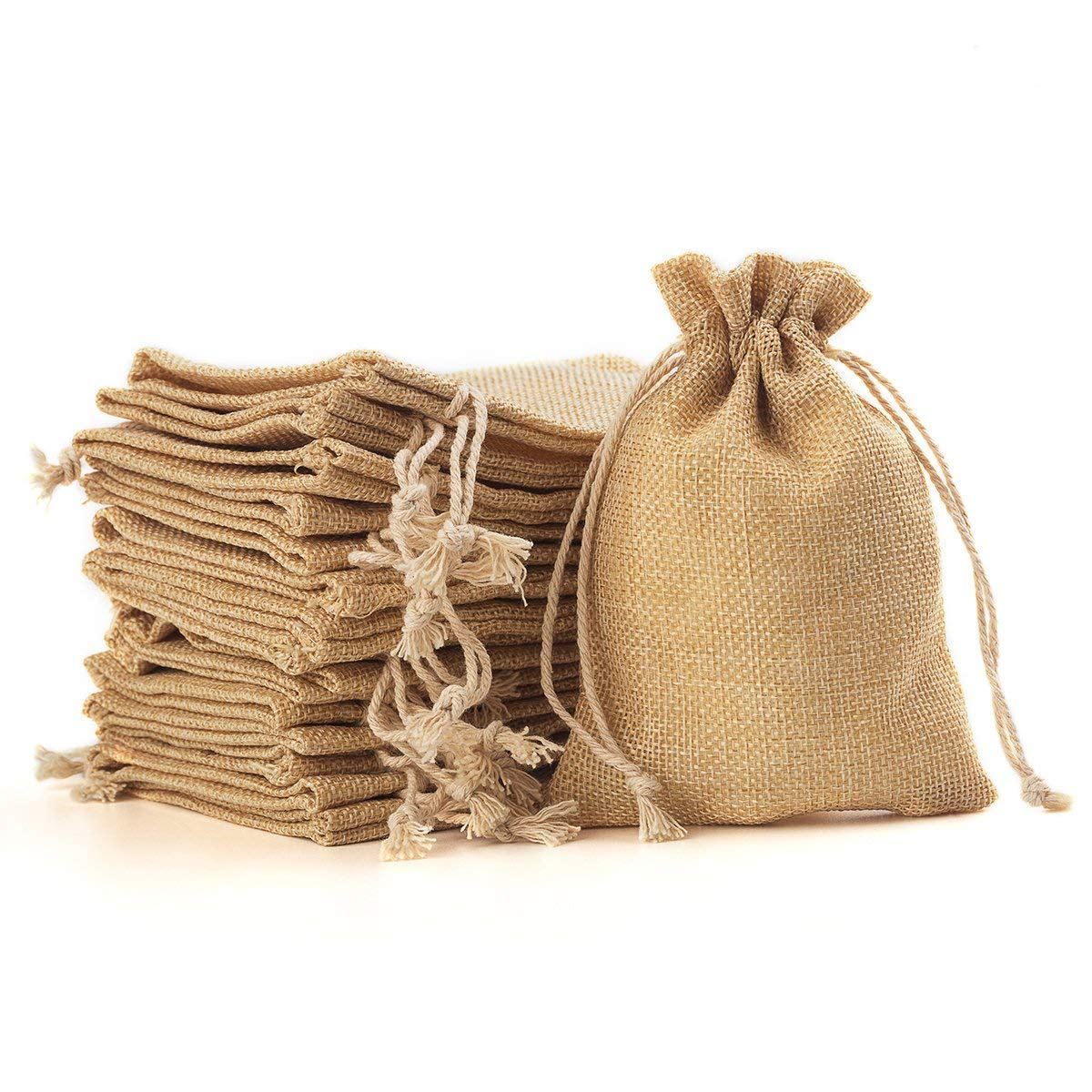 YUXIER 50 Burlap Bags with Drawstring Favor Bags Jewelry Bags Burlap 50 Treat Bags for Wedding Party,Arts /& Crafts Projects 5.3X3.7inch Flaxen Snacks Jewelry NumberoneBay Presents