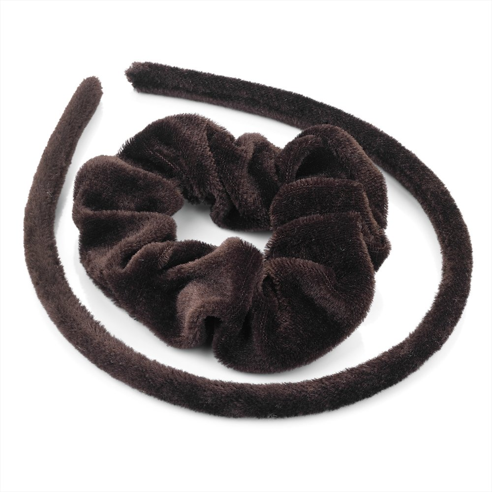 Pritties Accessories Hair Set - Brown Velvet Fabric Covered Alice Band and Scrunchie Hair Band Set