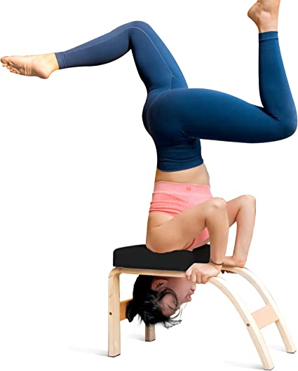 Amazon Com Thundesk Yoga Inversion Bench Yoga Headstand Prop Upside Down Chair For Feet Up And Balance Training Core Strength Building Yoga Pilates Chair Black Sports Outdoors