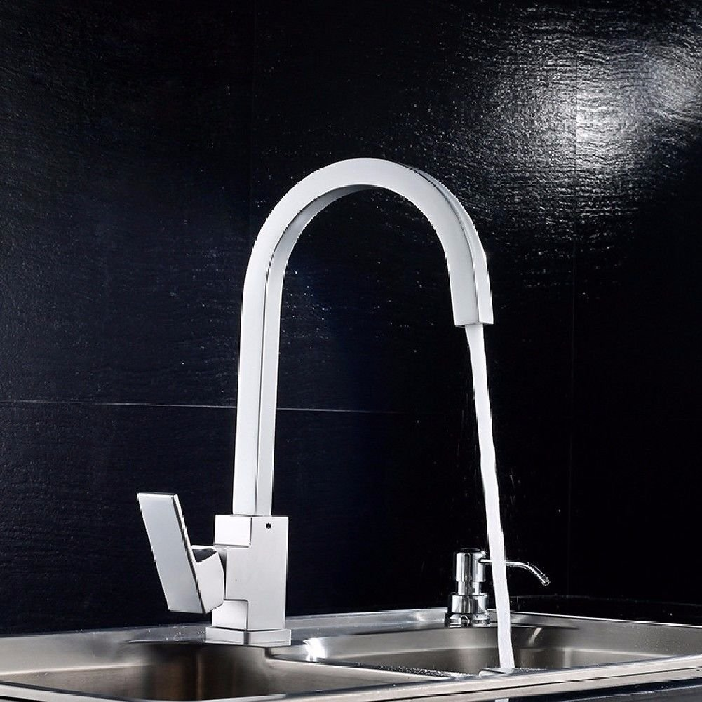 Lpophy Bathroom Sink Mixer Taps Faucet Bath Waterfall Cold and Hot Water Tap for Washroom Bathroom and Kitchen Space Aluminum Space Aluminum Square