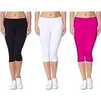 Lili Women's Active Running Fit Workout Bio-Wash Calf Length Capri (Pack of 3)